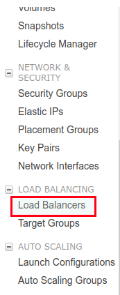 EC2 Load Balancer Menu